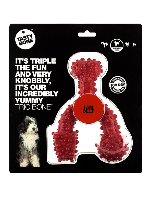 Nylon Trio Bone Toy/Small/Large Beef