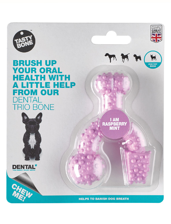 Dental Trio Bone Toy Raspberry Mint